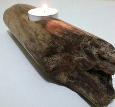 Single driftwood candle holder*