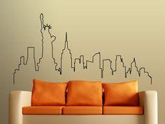 Wall decal city skyline New York beautiful city by stickdecor