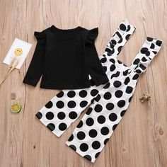 Baby / Toddler Solid Flutter-sleeve Top and Polka Dots Overalls Set * Round-collar * Soft and comfy * Include: 1 top, 1 pants * Material: Cotton, Spandex * Machine wash, tumble dry * Imported Kids Dress Wear, Dresses Kids Girl, Baby Dress, Baby Outfits Newborn, Toddler Outfits, Kids Outfits, Cute Outfits, Baby Clothes Online, Cute Baby Clothes