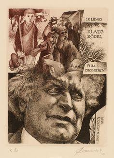 Bookplate by Belgian artist Hedvig Pauwels for Klaus Rödel (2011)