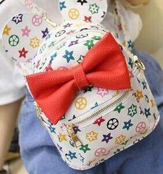 Disney Mickey Minnie Ears White & Red Bow Mini Backpack- * Limited Edition
