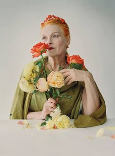 Vivienne Westwood portrait with flowers - October 2009