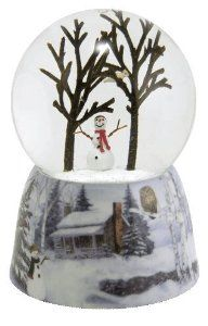 Cheerful Snowman Snow Globe . $24.95. This snowman is so happy, he'll make you happy too. A tiny bird nestles in the tall trees above. The base of the globe features a cabin in the snowy woods, our cheerful snowman, cardinals and an owl. Shakes beautiful snow and sparkles. Music box at the bottom of the globe plays Winter Wonderland. Cast resin base/glass globe. 5 inches (12.6 cm) tall.