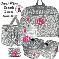 Monogrammed 5 Piece Travel Set - Damask - Gray / White  - FREE SHIP