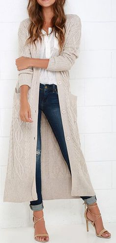 At Great Length Beige Long Cardigan Sweater