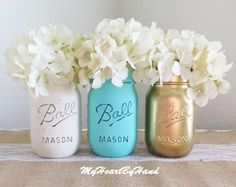 Baby Teal, Gold and White Mason Jars, Teal and Gold Baby Shower, Wedding Centerpiece, Nursery Decor, Rustic Centerpiece, Souther Baby Shower by MyHeartByHand on Etsy