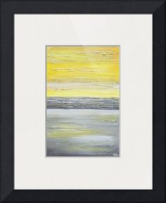 """""""Coastal Charm"""" by Christine Krainock,  // Brighten up any decor with this yellow grey abstract painting.  Contemporary wall art from original textured abstract palette knife painting by artist Christine Krainock.  Soft shades of grey with yellow gold contrast, horizon line modern fine art. // Imagekind.com -- Buy stunning fine art prints, framed prints and canvas prints directly from independent working artists and photographers."""