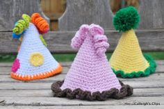 Party Hats - she's not born yet, but this might be her first birthday hat!   free crochet patterns
