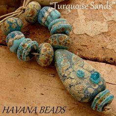 TURQUOISE SANDS  - Handmade Lampwork Bead Set  by Havanabeads.etsy.com