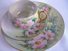 Hand Painted Tea Cup and Plate by ALittleBitOfParis on Etsy, $22.00