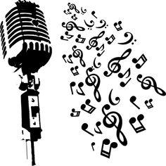 Música micrófono retro con notas musicales