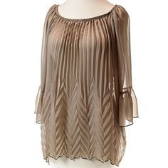 Pleated Bell Sleeve Woven Blouse