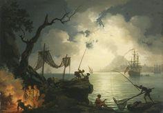 A NOCTURNAL MEDITERRANEAN COASTAL SCENE, WITH VESUVIUS IN THE BACKGROUND.