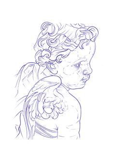 Baby Tattoo Designs, Angel Tattoo Designs, Tattoo Design Drawings, Tattoo Sketches, Dark Art Tattoo, Tattoo Flash Art, Red Tattoos, Baby Tattoos, Full Chest Tattoos