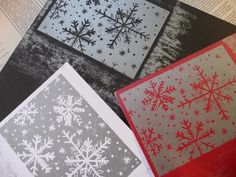 Pretty snowflake backgrounds - could do these with my foam block thingies and my snowflake stamps.