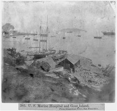 Marine Hospital and Goat Island - From Steamboat Point, San Francisco Steamboats, Library Of Congress, Goats, San Francisco, Island, Prints, Painting, Block Island, Paintings