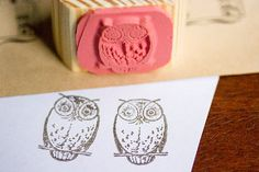Owl Rubber Stamp by SayaBell Stamps. Deep Etched Scrapbooking and Crafting Stamps.
