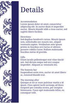 Damask - Details card - #Wedding Stationery