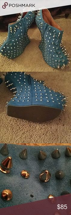 Jeffrey Campbell heel-less spiked an stud booties blue suede spiked booties with floating heel.  Only missing one stud.  Good condition!  ONLY FOR THE BRAVE!!! Jeffrey Campbell Shoes Ankle Boots & Booties