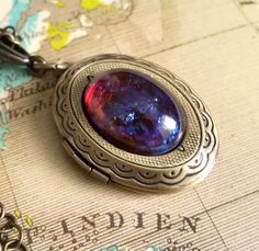 Mexican Opal Necklace, Brass Oval Locket, Fire Opal Jewelry