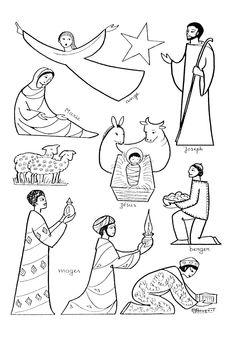 Les différents personnages de la Crèche à colorier A partir de la galerie : Creche