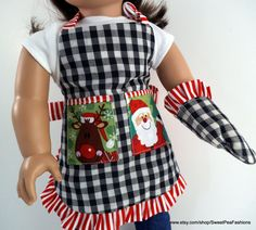 American Girl Reversible Christmas Apron Set by SweetPeaFashions