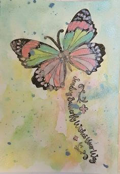 Pearlescent watercolours over  Butterfly wishes stamps. Love how the colours have turned out.