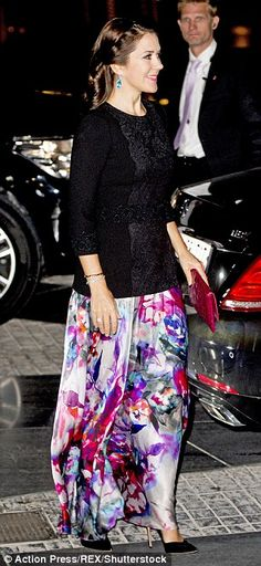 Glamorous evening: For the occasion, the 44-year-old princess donned a watercolour print s...
