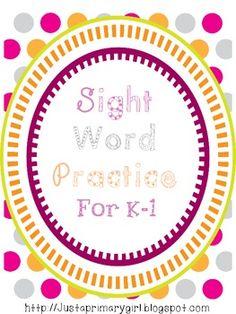 Kindergarten and First Grade Sight Word Practice