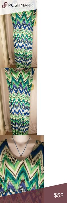 NWT ONE WORLD 2X MAXI DRESS Blue/Green/White V neck embellished front neckline. Necklace not included. 2x. NWT. One World brand polyester maxi dress. Comfortable and gorgeous on! Free gift w/purchase. True to size 22-24. Closeup of material print. Feel free to ask ?? ONE WORLD Dresses Maxi