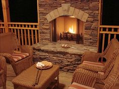 Ellijay Vacation Rental - VRBO 147764 - 4 BR Northwest High Country Cabin in GA, Fall Getaway: Waterfront, Luxury Cabin with New Hot Tub. Outdoor Rooms, Outdoor Living, Outdoor Patios, Outdoor Ideas, Backyard Ideas, Porch Fireplace, Fireplace Stone, Fireplace Ideas, Fresco