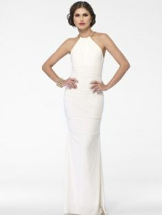 Cache Ivory Ruched Column Gown