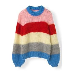 Juilard Mohair knit pullover by Ganni. Hand-knitted woll/mohair pullover knitted by South Tuscany local women in Italy. Due to hand-knitting each piece is unique. Knitting Blocking, Chunky Oversized Sweater, Red Sweaters, Mode Inspiration, Wool Blend, Knitwear, Color Blocking, Clothes, Striped Jumpers