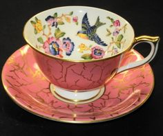 AYNSLEY ENGLAND BIRD GOLD CHINTZ PINK TEA CUP AND SAUCER