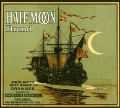 Redlands Half Moon Ship Orange Citrus Fruit Crate Box Label Art Print