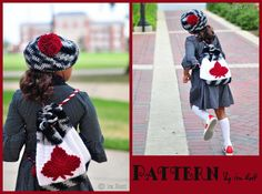 Red Maple Leaf Backpack and Beret Set PDF Crochet Pattern