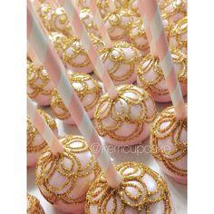 Custom Cake Pops. Wedding Cakepops. Blush and Gold Glitter. Scalloped Design. Chocolate Cakepop. Custom Wedding Confections. #VillageIndulgence @Kerricupcake on Instagram