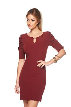 PrettyGirl Spring Elite Burgundy Dress, metalic accessory, wrinkled sleeves, back zipper fastening, slightly elastic fabric Product Label, Product Launch, Burgundy Dress, Dress For You, Daily Wear, Your Style, Dresser, Cold Shoulder Dress, Zipper