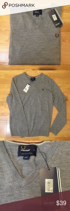 Fred Perry NWT grey sweater New Fred Perry Sweaters V-Neck