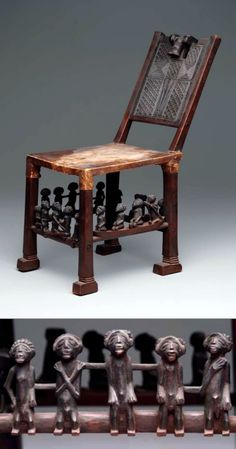 Africa   Chair with head on back and figures on rungs from the Chokwe people of Angola and DR Congo   Wood and hide   Late 19th to early 20th century
