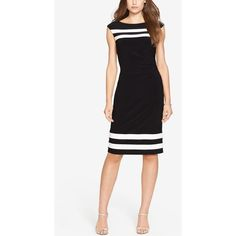 Lauren Ralph Lauren Petite Striped Jersey Dress ($80) ❤ liked on Polyvore featuring dresses, navy, ruched waist dress, stripe jersey dress, polish dress, wetlook dress and shining dress