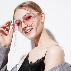 bf1fc1dfee22 UVLAIK 2018 Love Heart Sunglasses Women Cute Sexy Retro Cat Eye Vintage 90s  Red Flash Pink