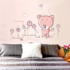 1 pcs Pink Cartoon Bear Flower Wall Sticker for Baby Girls Kids Rooms DIY Home Decor Classroom Wall Decals Wallpaper