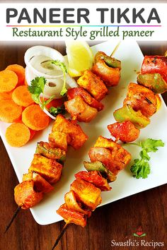 Paneer tikka recipe made in oven and stove top or gas stove. Learn to make restaurant style appetiser or starter - paneer tikka Tandoori Recipes, Pakora Recipes, Veg Recipes, Spicy Recipes, Curry Recipes, Recipes With Paneer, Snacks Recipes, Tikka Recipe, Chaat Recipe