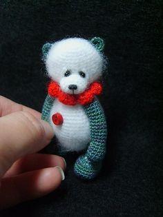 Miniature crochet Pudgy Panda.  Pattern, amigurumi