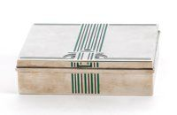 TIFFANY & CO An Art Deco-Style Silver and Enamel Cigar Box, circa 1980 1-3/4 x 6-1/4 x 4-3/4 inches (4.4 x 15.9...