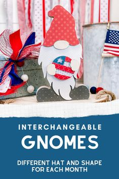 Wooden Shapes, July Crafts, Craft Kits, Gnomes, Scrapbook Paper, Overlays, 4th Of July, Christmas Stockings, Embellishments