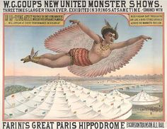 "W.C. Coup presents LuLu the Flying Wo(man) circus poster    While dressed as a woman, LuLu was billed as ""Positively the Only Flying Man in the World"". ""She"" was a he. Circa 1880."