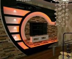Gypsum board TV wall design with LED lights for modern living rooms 2019 Modern Recessed Lighting, Recessed Lighting Fixtures, Recessed Ceiling, Modern Light Fixtures, Ceiling Light Fixtures, Wall Showcase Design, Tv Wall Design, Gypsum Board Design, Gypsum Wall