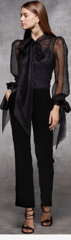 This stunning all black outfit with sheer blouse and flowing pants style could easily take the place of the little black dress! Fashion 2018, Look Fashion, High Fashion, Fashion Dresses, Womens Fashion, Fashion Design, Fashion Trends, Mode Style, Style Me